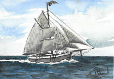 "ORIGINAL AQUARELL - Nordische Jagt ""Grönland""."