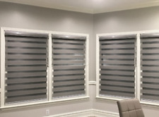 Horizontal Zebra Dual Roller Blinds Window shades Custom Size