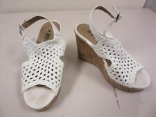 Mudd Shoes Beige Woven Canvas High Heels Slingback Wedges Open Toe Size 6 M