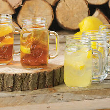 12 - 16 oz MASON JARS/W HANDLE   BRIDAL,RUSTIC GLASS SET COUNTY FAIR