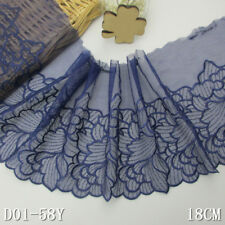 1Y Mazarine blue Floral Embroidered Lace Trim Tulle For DIY Craft Wide 7 1/4""