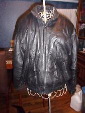 Men's Raffaelo Golden Collection Black Leather Bomber Motorcycle Jacket Coat LG