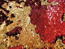 "Red on Gold Little Sequins Roll Over Mirage 2-Way Stretch 52"" Wide dress fabric"