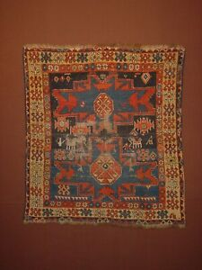 WONDERFUL ANTIQUE 1880 CAUCASIAN LESGHI  KAZAK SMALL RUG ****HG***