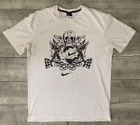 Nike Dri Fit Academy GPX Soccer Graphic Skull White Athletic T-Shirt Mens Sz L