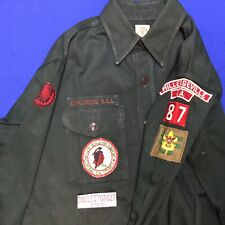 Boy Scout Dark Green Explorer Uniform Shirt Milledgenville GA 1956 Camp Benjamin