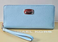 NWT MICHAEL KORS JET SET TRAVEL CONTINENTAL WALLET/WRISTLET- LT SKY