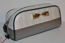 VICTORIA'S SECRET METALLIC SILVER GRAY BOW MAKEUP COSMETIC BEAUTY BAG POUCH CASE