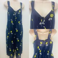 NEW Ex Next Petite Navy floral printed  jumpsuit                           (A45)