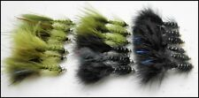 Trout Flies,18 per pack, Gold head Flash Damsels, Size 10, Black & Olive,