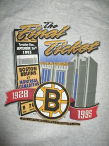 The Garden FINAL TICKET Sept 26 1995 BOSTON BRUINS (LG) T-Shirt Tags BOURQUE ORR