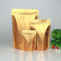 Resealable Gold Aluminum Foil Zip Lock Bag Mylar Stand Up Food Pouches
