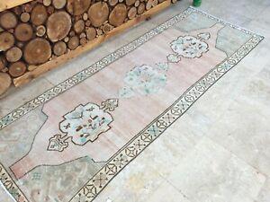 3'2''x8'10'' Antique Rug Carpet,Vintage Oushak Runner Rug,Turkish Rug Runner