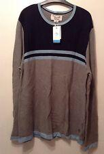 BNWT Men's Original Penguin Jumper Sweater Colour Block Grey Navy Blue Size XXL