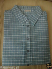 "LADIES BLUE CHECK CASUAL SHIRT BLOUSE 100% COTTON SIZE 16 44"" COLLARED"