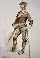 "Frederic Remington, 1890 Drawing, Sergeant of U.S Cavalry, 20""x14"" Art Print"