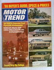 MOTOR TREND MAGAZINE 1968 NOVEMBER CHEVY FORD PLYMOUTH AMBASSADOR ATLANTA 500