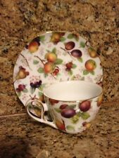 Limoges Cup And Saucer Set - Lovely Fruit Peach Pear Plum Pattern