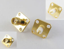 100x SMA Female Jack Chassis Panel Mount 4 Hole PTFE Solder RF Connector Adapter