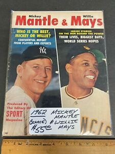 """1962 *MICKEY MANTLE & MAYS* """"SPORT"""" MAGAZINE COVER SCARCE NEWSSTAND (MS) 91021"""