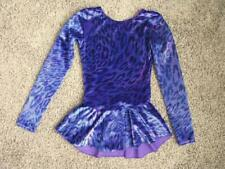 Girls Figure skating practice dress Mondor Blue purple stretch velvet size 8-10