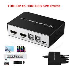 4K HDMI USB KVM Switch 2 Port Selector Monitor Switcher Splitter+ Button Switch