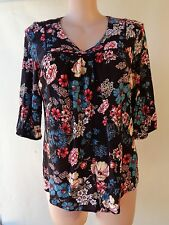 Millers top size 18 black floral print top 3/4 sleeve