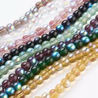 20strands 8mm Round AB Color Plated Glass Beads Strands DIY Jewelry Making