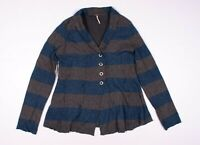 Free People Striped Wool Angora Blue & Gray Cardigan Sweater Size L Large