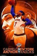 "Trends Intl NBA New York Knicks logo Carmelo Anthony Wall Poster 22.375"" x 34"""