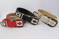 """New Women Black Red White Faux Leather Fashion Belt Big Metal Buckle 29""""-37"""" S M"""