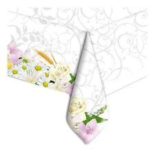 Tovaglia bianca Bouque 140x270cm Matrimonio Comunione Art 60800