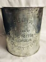 Antique Old Reliable Oysters 1 Gallon Can Lord-Mott Co. Baltimore, MD Rare Item