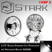 "H5001 / H5006 Head Light Glass Diamond Cut Housing Lamp 5.75"" Round H4 PAIR (A)"