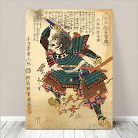 "Vintage Japanese SAMURAI Warrior Art CANVAS PRINT 8x10""~ Kuniyoshi  #274"