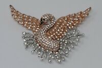 Nolan Miller Glamour Collection Blissful Signature Rhinestone Covered Swan Pin