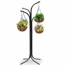 Hanging Basket Flower Tree 4 Arms Fiber Pots Patio Garden Deck Lawn Chain Steel