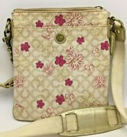COACH Floral Canvas Crossbody Bag Pink Floral w/White/Gold Accents Crossbody Bag