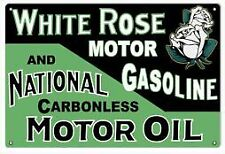 Vintage Antique Style Metal Sign White Rose Gasoline 18x30
