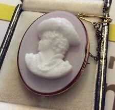 Hermoso Antiguo Oro Rosa Victoriana 9 CT en capas Vidrio Broche Camafeo década de 1880