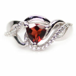 NATURAL 5 X 5 mm. RED GARNET & WHITE CZ 925 STERLING SILVER RING SZ 5.75