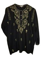 Rebell's Black Blouse With Embroidery And Sequins Embellishments Size XL boho