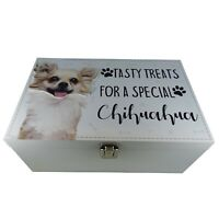 Chihuahua Dog Treats Food Storage Container Holder Biscuits Pet Toys Wood Box
