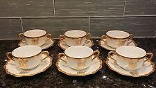 6 sets ANTIQUE LIMOGES BOUILLON CREAM SOUP CUPS SAUCERS GOLD GILD