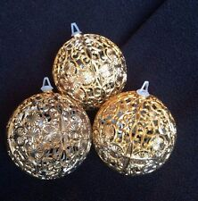 Vintage Gold Filigree Plastic Christmas Ornaments - Balls LOT OF 3
