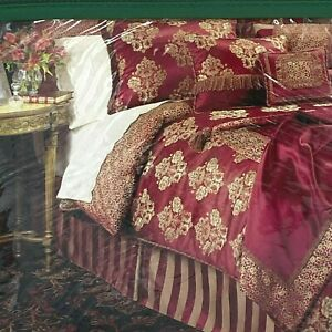 Waterford Charlemont 2 Euro Shams European Pillow NEW Ruby Red Gold SEALED K1