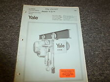 Yale CE Series Electric Hoists Parts Catalog & Owner Operator Manual User Guide