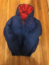 Polo Ralph Lauren Men Hooded Puffer Down Hoodie Jacket Blue Red Large