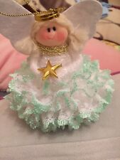 Hand Made Christmas Angel In Green Dress