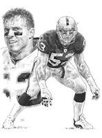 Bill Romanowski Oakland Raiders Lithograph By Michael Mellett